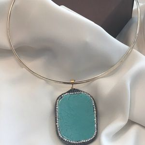 Turquoise silver and gold choker